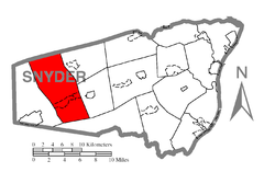 Map of Snyder County, Pennsylvania Highlighting Spring Township.PNG