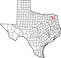 Map of Texas highlighting Franklin County
