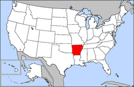 Map of the United States with Arkansas highlighted