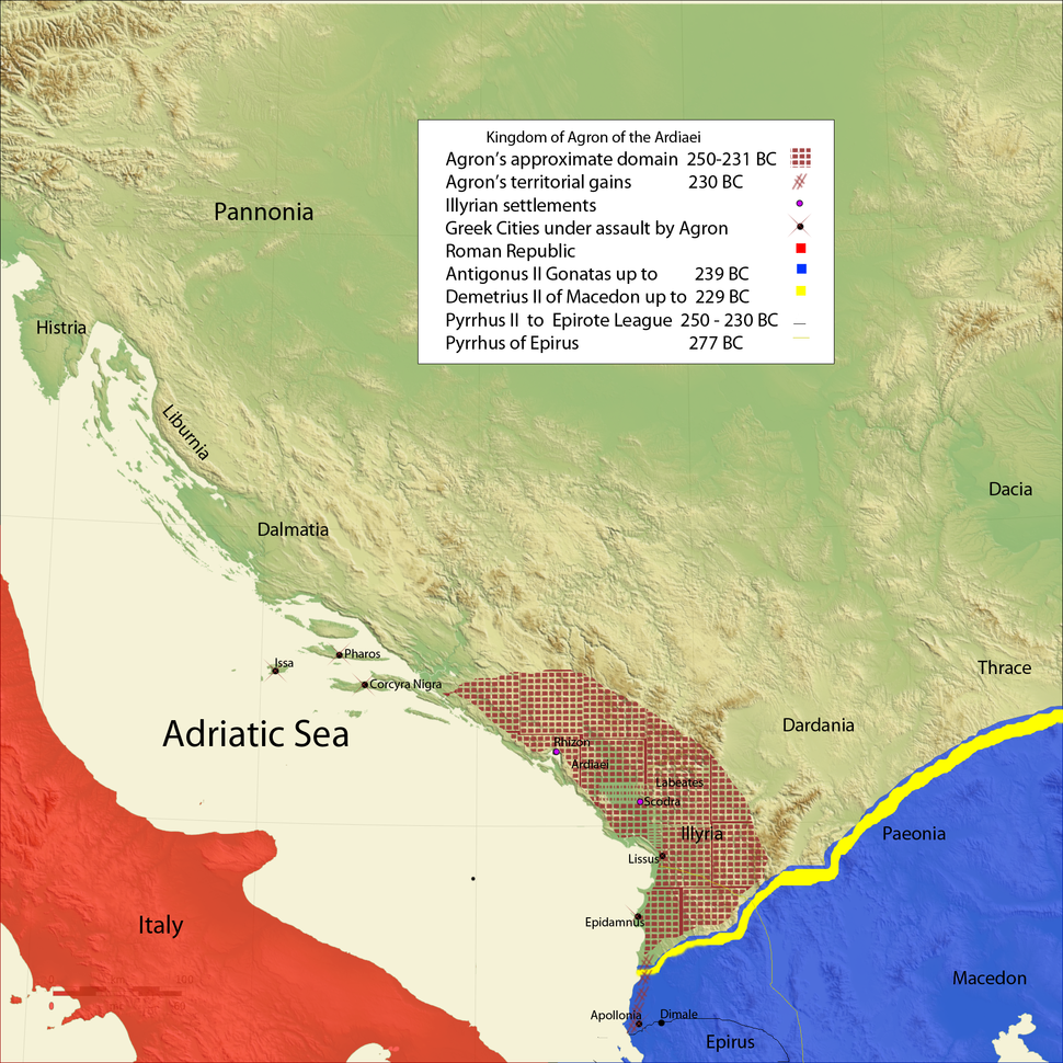 Map of the Kingdom of Agron of the Ardiaei (English)