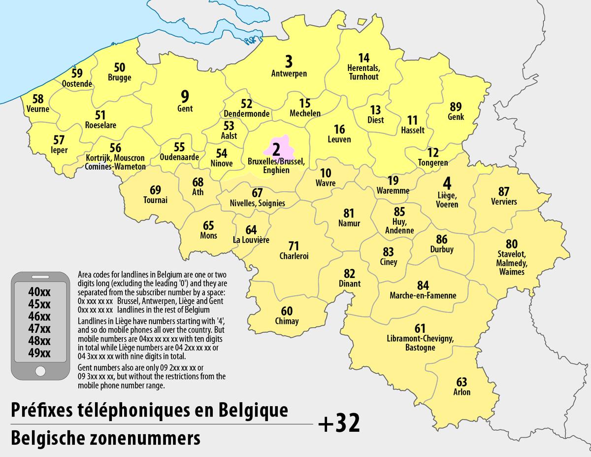 Liste des préfixes téléphoniques en Belgique — Wikipédia