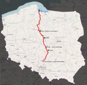 National road 91 (Poland) - Image: Mapa DK91
