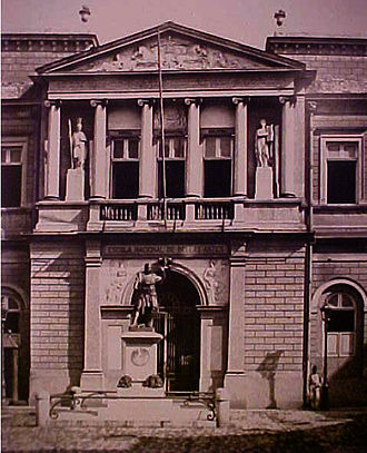 Imperial Academy of Fine Arts (Brazil) - Entrance of the Academy building (Photographed by Marc Ferrez, in 1891). Today, it is the entrance to the Jardim Botânico do Rio de Janeiro.