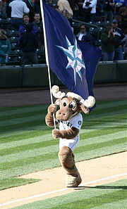 The mascot of the Mariners, the Mariner Moose