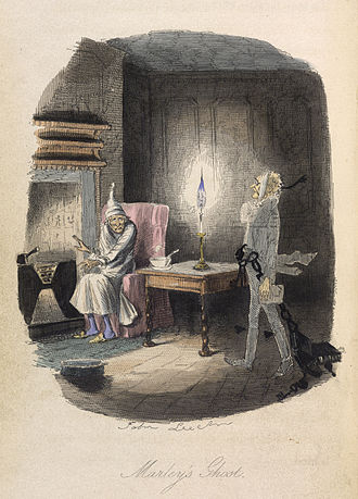 "A Christmas Carol - ""Marley's Ghost"", original illustration by John Leech from the 1843 edition"