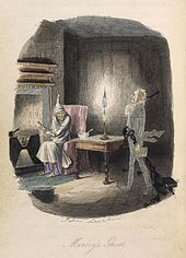 The ghost of Marley walking towards Scrooge, who is warming himself by the fire