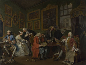 "Arranged marriage - ""Marriage à-la-mode"" by William Hogarth: a satire on arranged marriages and prediction of ensuing disaster"
