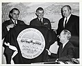 Mayor John F. Collins presents the Boston flag to members of the 102nd Fighter Wing, Massachusetts Air Guard. L to R- Lieutenant colonel Norman C. LaForest, Major George E. Clark, Major General Charles G. Sweeney (13850081483).jpg