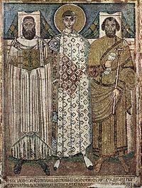 Ψηφιδωτό του 6ου ή 7ου αιώνα που εικονίζει τον Άγιο Δημήτριο με τον Επίσκοπο και το Διοικητή της πόλης.