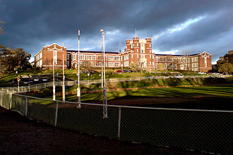 Bill Woodfull - Melbourne High School, with the Woodfull-Miller oval in the foreground