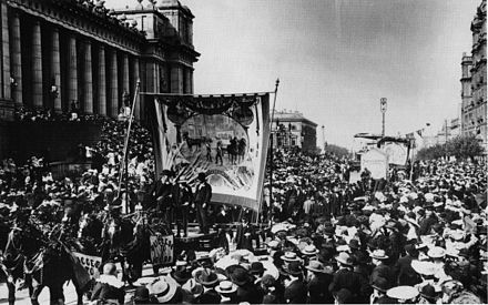 Eight-hour day march circa 1900, outside Parliament House in Spring Street, Melbourne. Melbourne eight hour day march-c1900.jpg