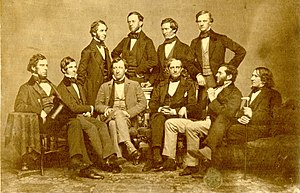 Boston Society for Medical Improvement - The Society in 1853.  Standing: Charles Eliot Ware, Robert William Hooper, Le Baron Russell, and Samuel Parkman. Seated: George Amory Bethune, O. W. Holmes, Samuel Cabot III, Jonathan Mason Warren, William Edward Coale, and James Browne Gregerson.