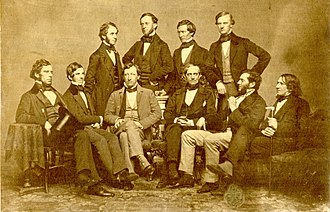 Frederick Catherwood - The Society in 1853.  Standing: Charles Eliot Ware, Robert William Hooper, Le Baron Russell, and Samuel Parkman. Seated: George Amory Bethune, O. W. Holmes, Samuel Cabot III, Jonathan Mason Warren, William Edward Coale, and James Browne Gregerson.