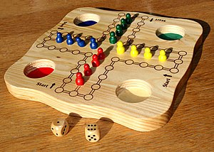 Mensch ärgere dich nicht - Wooden board with all pieces in the home row (does not happen during the game)