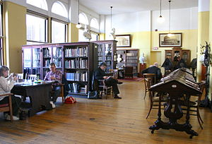 Mercantile Library of Cincinnati - Members and visitors peruse items at the Mercantile Library in downtown Cincinnati while awaiting a noontime concert