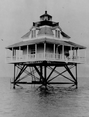 Merrill Shell Bank Light - undated photograph of Merrill Shell Bank Light (USCG)