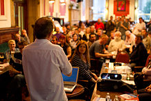 Photo of Brian Deer speaking at Skeptics in the Pub meeting in Liverpool
