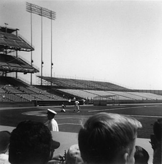 Metropolitan Stadium - Batting practice before a 1963 game at Metropolitan Stadium.