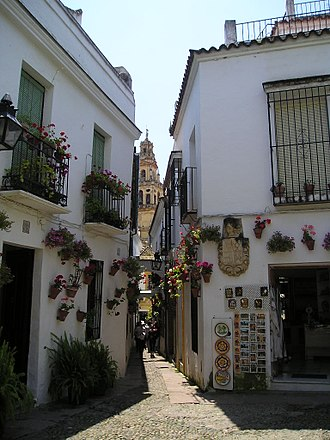 Córdoba, Spain - Calleja de las Flores, with the Great Cathedral in the background.