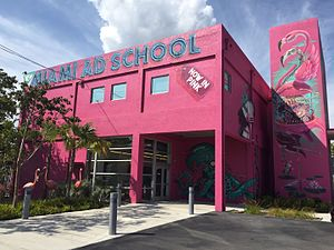 Miami Ad School - Front of the main building of Miami Ad School in Miami, FL featuring work from international street artists.