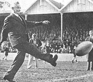 Michael Joseph Savage - Savage demonstrates his common touch, attending a rugby league match between New Zealand and Australia at Auckland, 1937