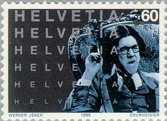 Michel Simon - Simon in La Vocation d'André Carel (1925) on a 1995 Swiss stamp