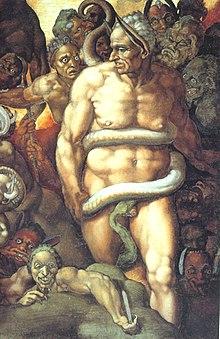 Minosse, nell'interpretazione di Michelangelo Buonarroti, dal particolare del Giudizio Universale nella Cappella Sistina, rappresentato come giudice infernale.