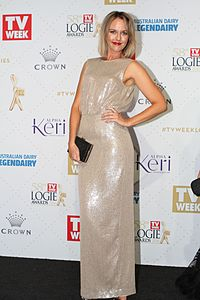 Michelle Langstone arrives at the 58th Annual Logie Awards at Crown Palladium on May 8, 2016 in Melbourne, Australia. (26836177471).jpg