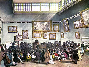 Art auction - Auction Room, Christie's, circa 1808.