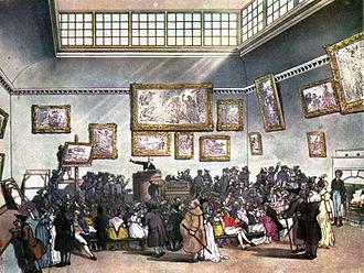 Art auction - Auction Room, Christie's, circa 1808.