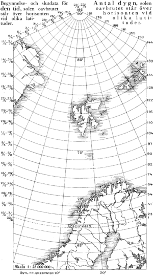 Midnight sun - Map showing the dates of midnight sun at various latitudes (left) and the total number of nights.