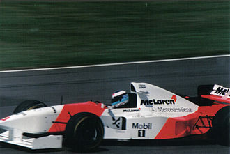 Mercedes-Benz in motorsport - The 1995 McLaren-Mercedes MP4-10 Formula One car being driven by Mika Häkkinen.
