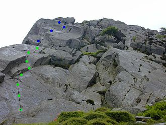 Tryfan - Milestone Buttress, eastern side. The direct route is highlighted.