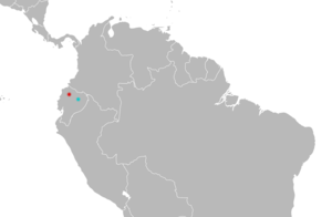 Map of the northern half of South America with a red mark in northwestern Ecuador and a blue mark in eastern Ecuador.