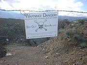 Danger sign at an old Arizona mine.