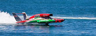 Hydroplane (boat) - Miss Madison/Oh Boy! Oberto unlimited hydroplane in 2007, with extended air scoop.