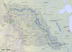 En mapa del río Misuri