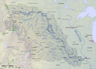 Karte des Missouri River-Einzugsgebiets in den USA und Kanada
