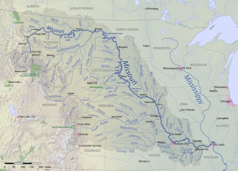 Missouri River basin map