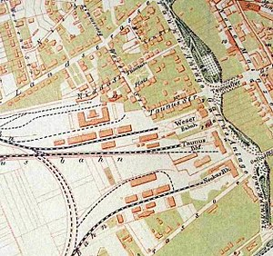 Taunus Railway - The Taunusbahnhof in Frankfurt and its neighbouring stations around 1860