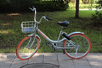 Mobike - A Mobike Lite bicycle in Guangdong. Note the exposed transmission system.