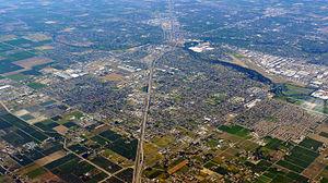 Modesto, California -  Aerial photo of city of Modesto, California