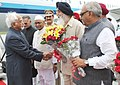 Mohd. Hamid Ansari being received by the Chief Minister of Punjab, Shri Parkash Singh Badal, on his arrival, at Chandigarh Airport. The Governor of Punjab, Shri Shivraj V. Patil, the Governor of Haryana.jpg