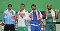 Mohd Imam (Pakistan) won Gold, Gopal Yadav (India) won Silver, Bazhand (Afghanistan) and Mohmd Rehmen (Bangladesh) winner of Bronze medal in 86Kg Men's wrestling, at the 12th South Asian Games-2016, in Guwahati.jpg