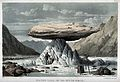 Mont Blanc; a flat boulder raised on a pinnacle of ice. Colo Wellcome V0025179.jpg