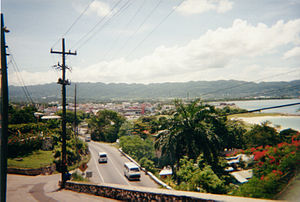 View of Montego Bay from the hillslide overloo...