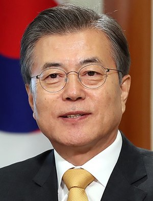 Current president of South Korea, President Moon Jae-in Moon Jae-in 2017-10-01.jpg