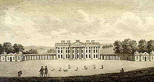 Giacomo Leoni - Moor Park during the 1780s when the colonnaded wings were still in situ. Today, the remaining corps de logis is the club house of a golf course.