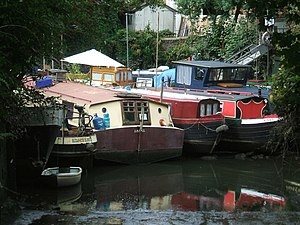 Brentford Dock -  Moored boats at low tide in the old Brentford docks (the old marina).
