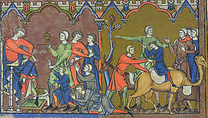 Benjamin - An illustration from the Morgan Bible of Benjamin being returned to Egypt (Genesis 44).